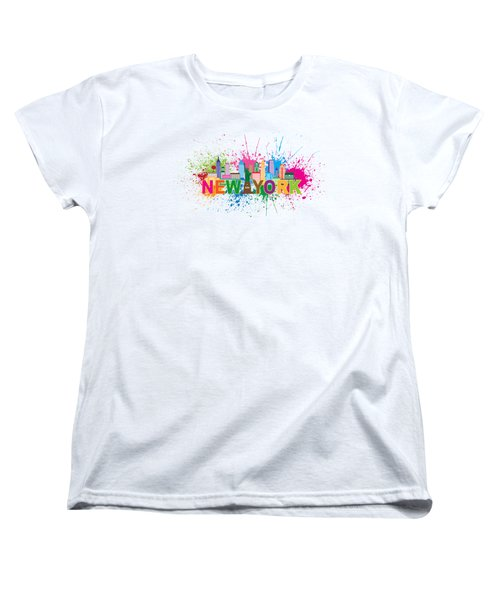 New York Skyline Paint Splatter Text Illustration Women's T-Shirt (Standard Cut) by Jit Lim
