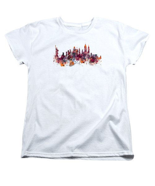 New York Skyline Watercolor Women's T-Shirt (Standard Cut) by Marian Voicu