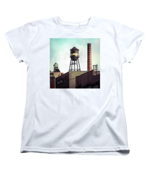 Women's T-Shirt (Standard Cut) featuring the photograph New York Water Towers 19 - Urban Industrial Art Photography by Gary Heller