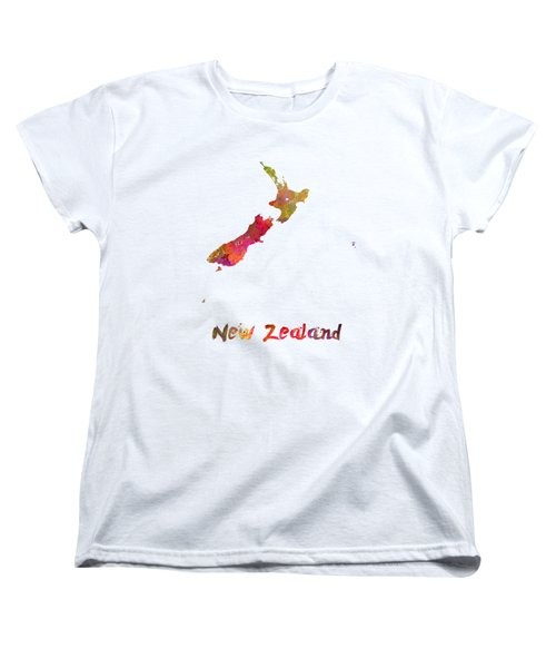 New Zealand In Watercolor Women's T-Shirt (Standard Cut) by Pablo Romero