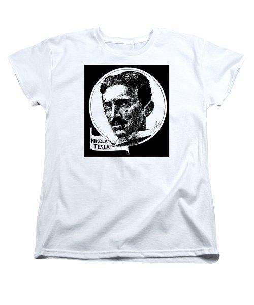 Women's T-Shirt (Standard Cut) featuring the digital art Newspaper Tesla 2 by Daniel Hagerman