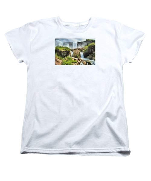 Women's T-Shirt (Standard Cut) featuring the digital art Niagara Falls Cave Of The Winds by Charmaine Zoe
