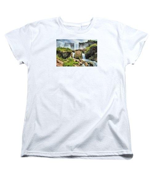 Niagara Falls Cave Of The Winds Women's T-Shirt (Standard Cut) by Charmaine Zoe