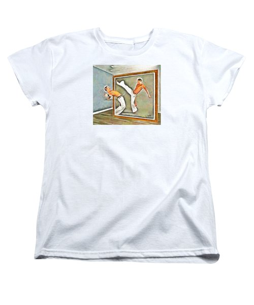 Women's T-Shirt (Standard Cut) featuring the painting Night At The Art Gallery - Martial Artists by Wayne Pascall