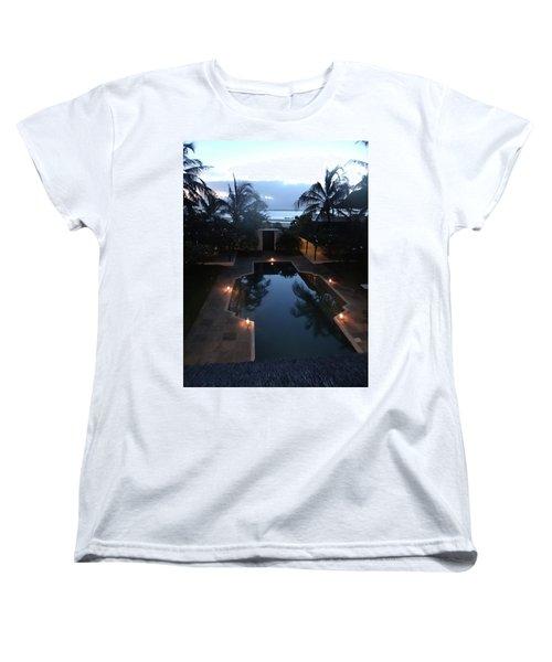 North - Eastern African Home - Sundown Over The Swimming Pool Women's T-Shirt (Standard Cut) by Exploramum Exploramum