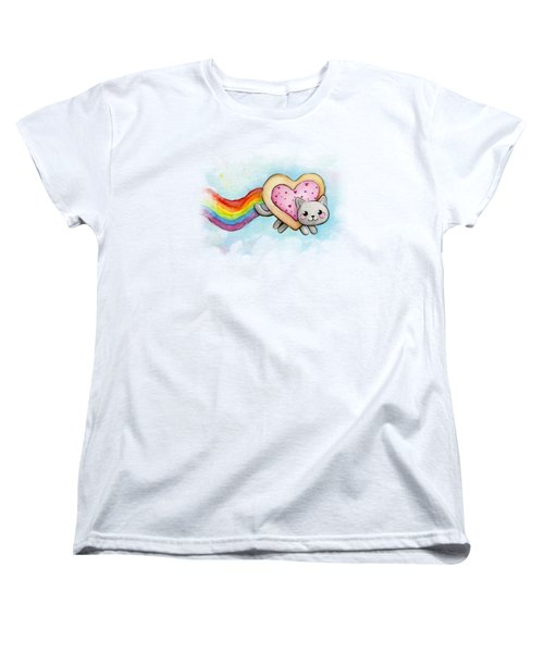 Nyan Cat Valentine Heart Women's T-Shirt (Standard Cut) by Olga Shvartsur