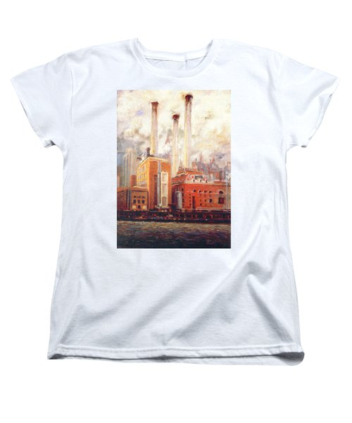 Women's T-Shirt (Standard Cut) featuring the painting Nyc- View From East River  by Walter Casaravilla