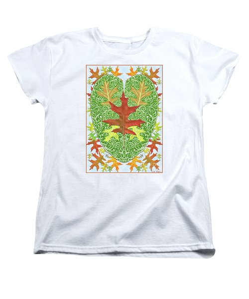 Oak Leaf In A Heart Women's T-Shirt (Standard Cut) by Lise Winne