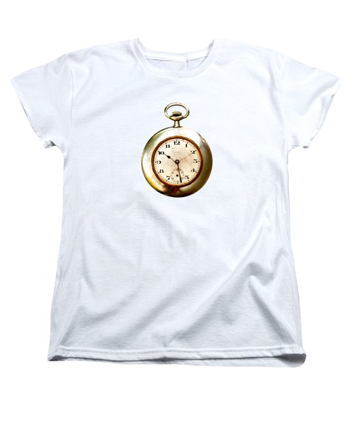 Old And Used Pocket Clock Om White Background Women's T-Shirt (Standard Cut) by Michal Boubin