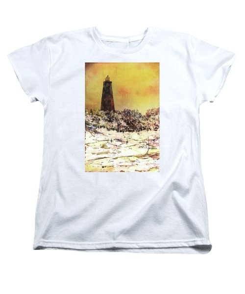 Women's T-Shirt (Standard Cut) featuring the painting Old Baldy Lighthouse- North Carolina by Ryan Fox