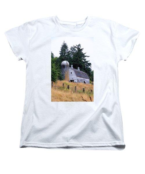 Old Barn In Field Women's T-Shirt (Standard Cut) by Athena Mckinzie