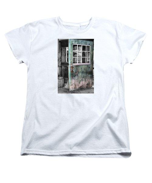 Rustic Blue - Green Door  Women's T-Shirt (Standard Cut) by Betty  Pauwels