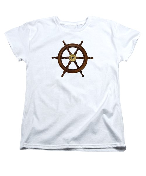 Old Oak Steering Wheel For Boats And Ships Women's T-Shirt (Standard Cut) by Tom Conway