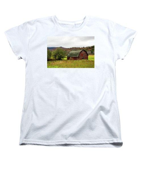 Old Red Adirondack Barn Women's T-Shirt (Standard Cut) by Nancy De Flon