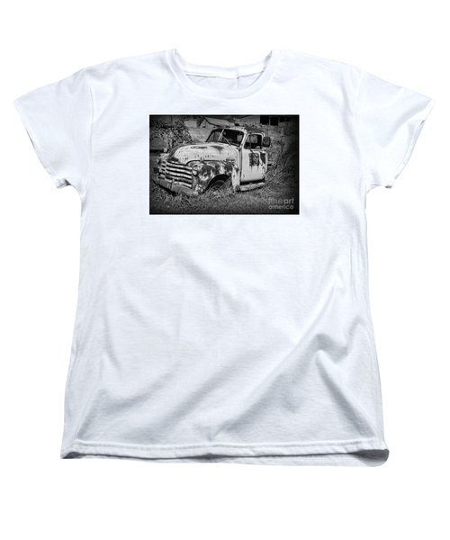 Women's T-Shirt (Standard Cut) featuring the photograph Old Rusty Chevy In Black And White by Paul Ward