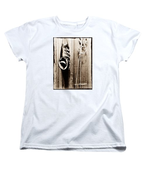Old Ski Boot And Pole Women's T-Shirt (Standard Cut) by Amy Fearn