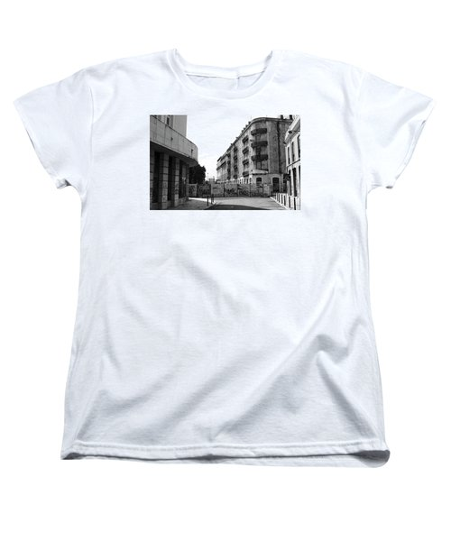 Old Town Neighborhood In The Black And White Of Blight Women's T-Shirt (Standard Cut) by Lorraine Devon Wilke