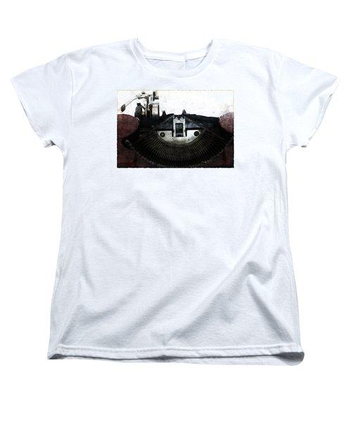 Old Typewriter Machine In Grunge Style Women's T-Shirt (Standard Cut) by Michal Boubin