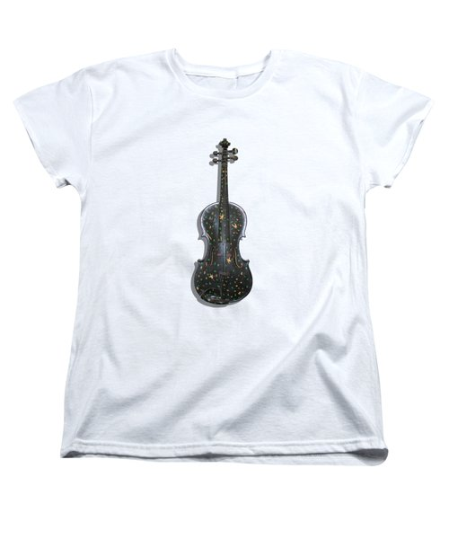 Old Violin With Painted Symbols Women's T-Shirt (Standard Cut) by Tom Conway