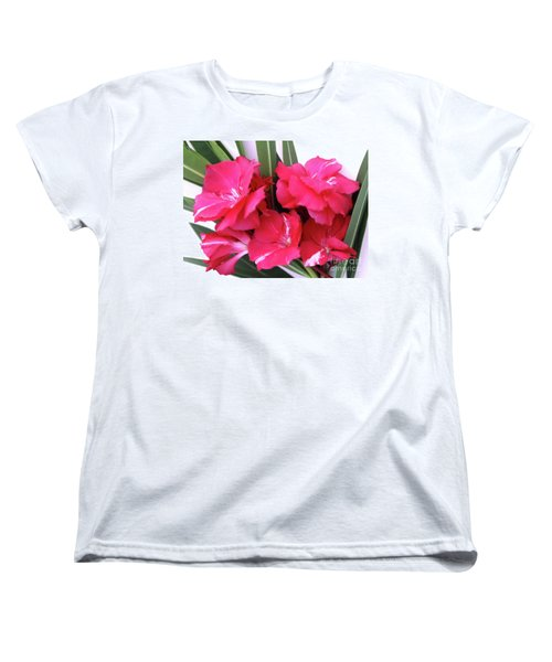 Women's T-Shirt (Standard Cut) featuring the photograph Oleander Geant Des Batailles 1 by Wilhelm Hufnagl