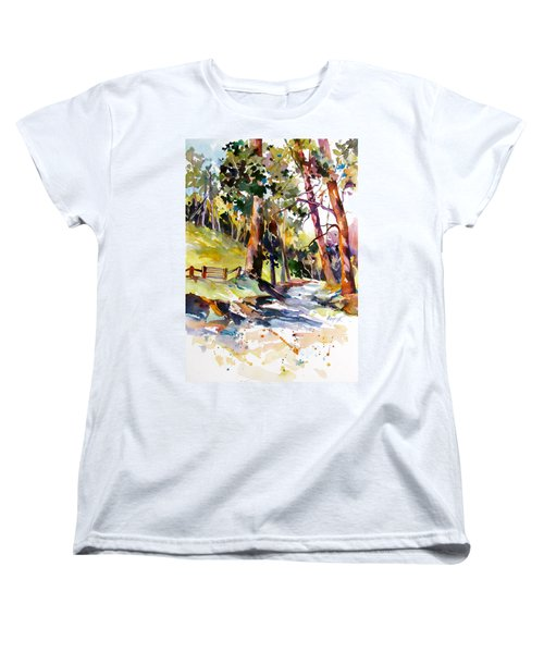 Women's T-Shirt (Standard Cut) featuring the painting Olinda Trees Maui 2 by Rae Andrews