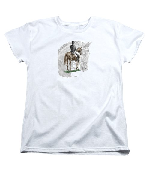 Women's T-Shirt (Standard Cut) featuring the drawing On Centerline - Dressage Horse Print Color Tinted by Kelli Swan