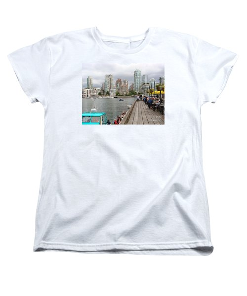 Women's T-Shirt (Standard Cut) featuring the painting On The Water At False Creek Vancouver by Rod Jellison