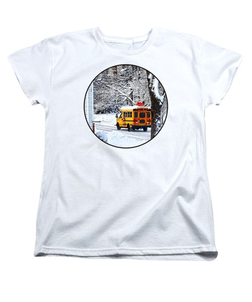 On The Way To School In Winter Women's T-Shirt (Standard Cut) by Susan Savad
