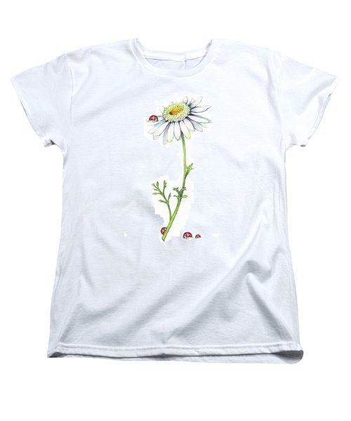 Women's T-Shirt (Standard Cut) featuring the painting One Daisy And Four Ladybugs by Heidi Kriel