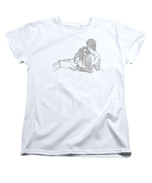 Women's T-Shirt (Standard Cut) featuring the mixed media One Line Drawing Lovers On The Beach by Vicki  Housel