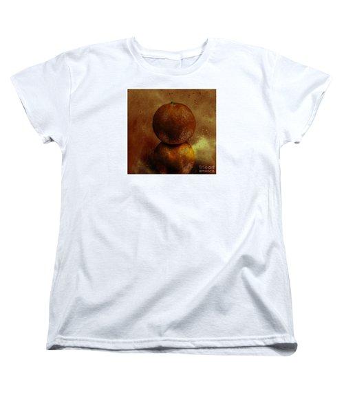 Orange Art Women's T-Shirt (Standard Cut) by Shirley Mangini