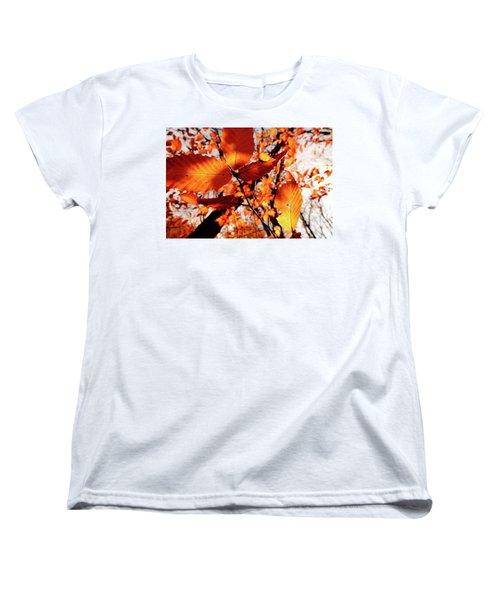 Women's T-Shirt (Standard Cut) featuring the photograph Orange Fall Leaves by Meta Gatschenberger