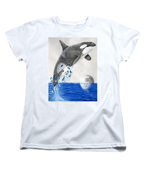 Women's T-Shirt (Standard Cut) featuring the drawing Orca by Mayhem Mediums