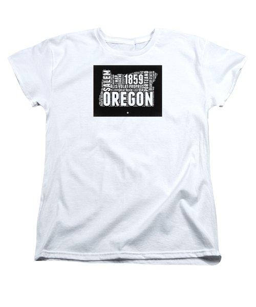 Oregon Black And White Map Women's T-Shirt (Standard Cut) by Naxart Studio