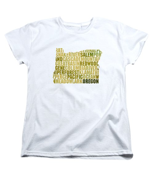 Oregon State Outline Word Map Women's T-Shirt (Standard Cut) by Design Turnpike