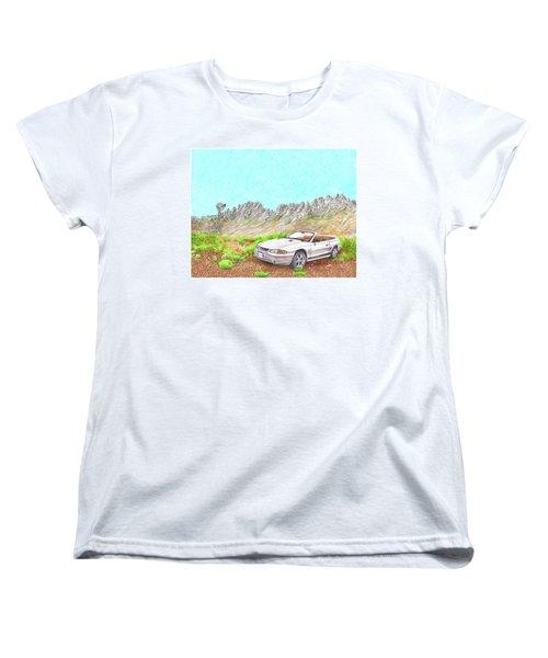 Women's T-Shirt (Standard Cut) featuring the painting Organ Mountain Mustang by Jack Pumphrey