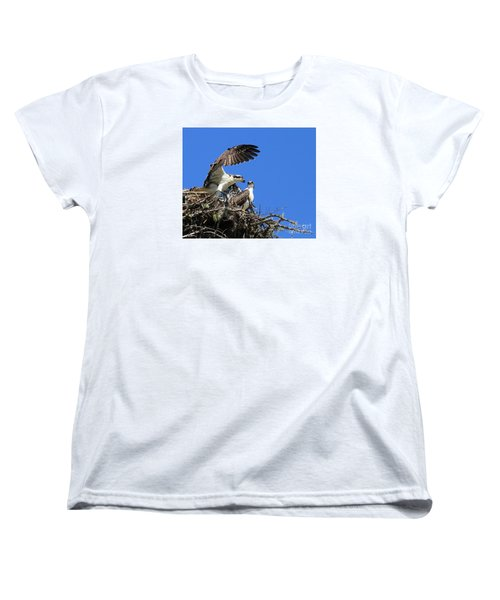 Women's T-Shirt (Standard Cut) featuring the photograph Osprey Chicks Ready To Fledge by Debbie Stahre