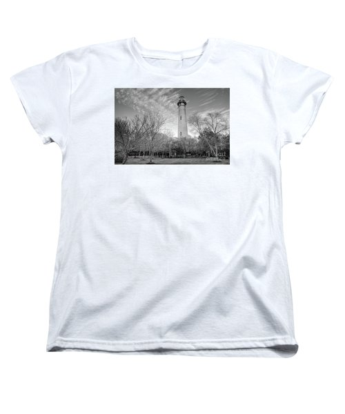 Women's T-Shirt (Standard Cut) featuring the photograph Outer Banks Winter At The Currituck Lighthouse Bw by Dan Carmichael