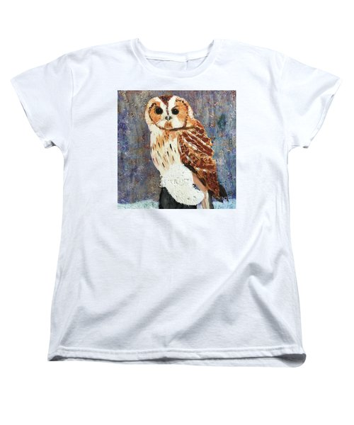 Owl On Snow Women's T-Shirt (Standard Cut) by Donald J Ryker III