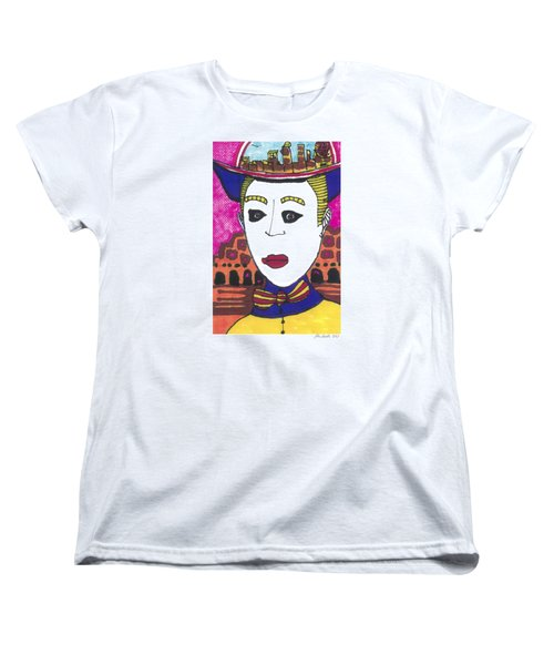 Women's T-Shirt (Standard Cut) featuring the painting Pagliacci  Italy by Don Koester