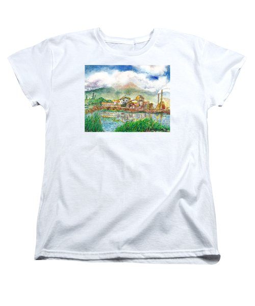 Women's T-Shirt (Standard Cut) featuring the painting Paia Mill 1 by Eric Samuelson
