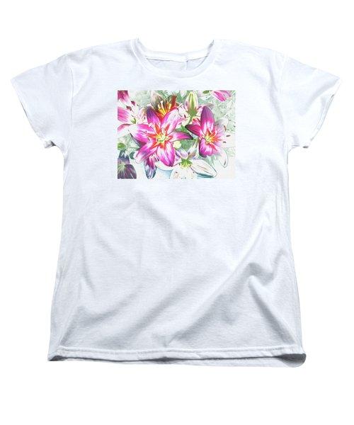 Painterly Pink Tiger Lilies Women's T-Shirt (Standard Cut)