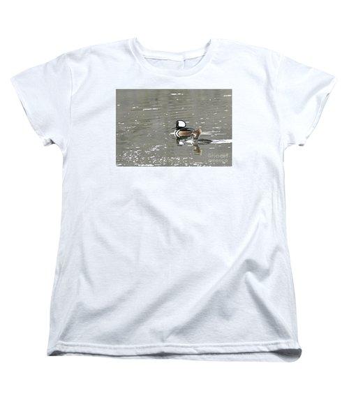 Women's T-Shirt (Standard Cut) featuring the photograph Pair Of Hooded Mergansers by Larry Ricker