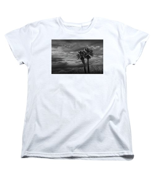 Women's T-Shirt (Standard Cut) featuring the photograph Palm Trees By Borrego Springs In Black And White by Randall Nyhof