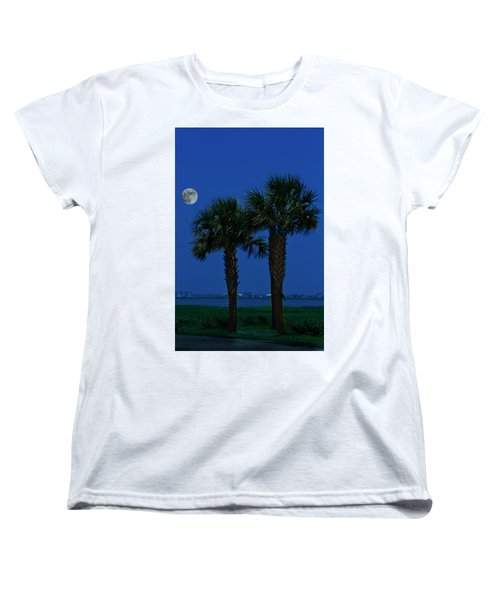 Palms And Moon At Morse Park Women's T-Shirt (Standard Cut) by Bill Barber