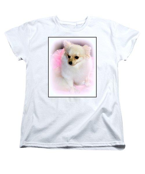 Pampered Pomeranian  Women's T-Shirt (Standard Cut) by Kathy  White