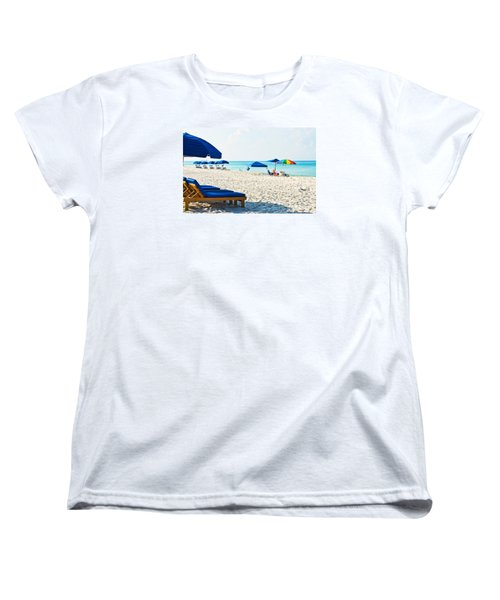 Panama City Beach Florida With Beach Chairs And Umbrellas Women's T-Shirt (Standard Cut) by Vizual Studio