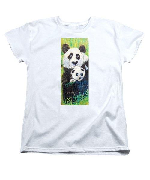 Panda Mother And Cub Women's T-Shirt (Standard Cut) by Ann Michelle Swadener
