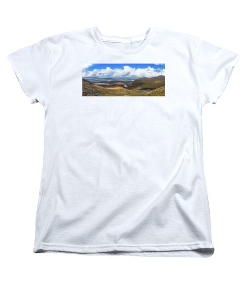 Women's T-Shirt (Standard Cut) featuring the photograph Panorama Of Valleys And Mountains In County Kerry On A Summer Da by Semmick Photo