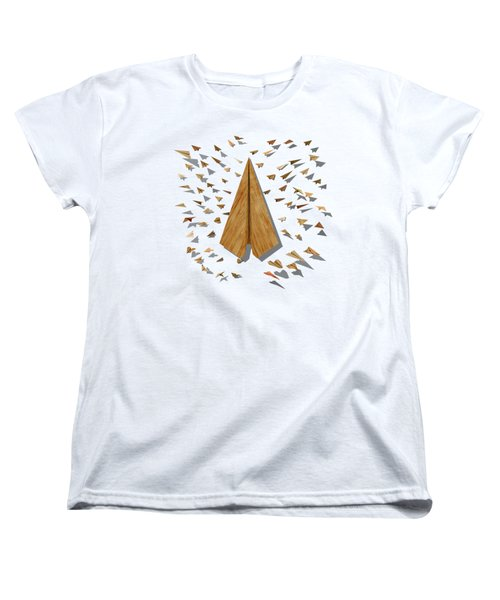 Paper Airplanes Of Wood 10 Women's T-Shirt (Standard Cut) by YoPedro